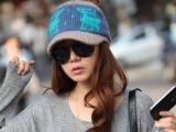 秋冬季女士毛线帽 韩国爆款毛线帽子鸭舌小鹿带帽檐毛线棒球帽