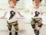 2014夏装新款 韩版宝宝中小儿童男童装迷彩短袖哈伦裤套装