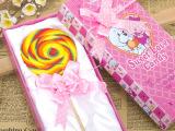 金稻谷80克精美礼盒装棒棒糖 圆形直径10厘米波板糖 七彩功夫糖