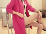 新款针织开衫韩版毛衣女外套马海毛中长款秋装针织衫厂家直销402