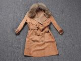 欧美女装秋冬羊绒大衣女款  大毛领麂皮绒大衣风衣外套 微信代理
