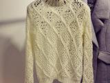 新款潮流女式毛衣 韩版纯色半高领长袖套头手工钉珠镂空精品毛衣