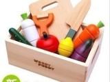 woody puddy蔬菜磁性切切看木盒装布袋 水果切切乐益智木