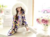 爆款2014新款迷彩羽绒服女中长款修身女款潮韩版冬季女装外套