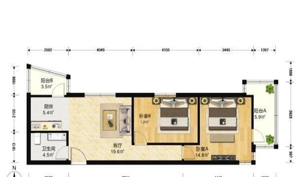雍景双庐 2室1厅 520万