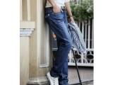 2014爆款韩版水貂绒新款男装加绒牛仔裤直筒修身加绒