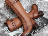 掌柜推荐秋冬韩版新款长靴粗跟交叉绑带擦色牛皮马丁靴厂家直销