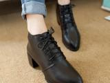 2014秋季新款裸靴英伦风粗跟女鞋尖头系带短靴中跟复古皮鞋 批发