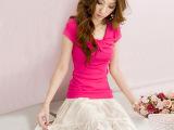 一件代发爆款 2014夏装新款蝴蝶结短袖T袖百搭时尚性感女装t恤
