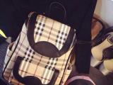 2014新款B家经典格子双肩包实用双肩包 水桶包书包背包