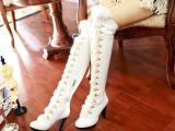欧美爆款细高跟时尚真皮女鞋高筒靴子真兔毛过膝长靴保暖靴女靴20