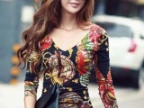 外贸爆款 欧美大牌时尚 修身白领 复古彩色印花连衣裙