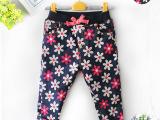 冬季童裤新款 儿童棉裤冬加绒加厚碎花女童牛仔裤童装厂家直批