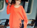 微信秋季胖MM大码女装韩版猫咪印花卡通宽松孕妇长袖T恤 打底衫
