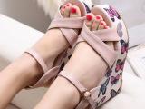 2014春夏季新款 韩国坡跟凉鞋高跟防水台露趾松糕学生女鞋