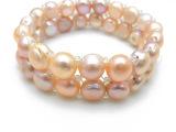 欧美外贸原单饰品低价清仓批发 双排天然淡水珍珠手链 时尚经典