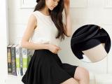 2015春夏新款 韩版女装泡泡布高腰防走光百褶裙半身裙 太阳裙