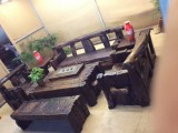 老船木博古架中式复古架子多宝阁实木屏风隔断古董架沙发罗汉床