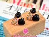 晚晴韩国版时尚气质滴油镶钻耳钉 女 夸张三角形耳环 饰品批发