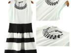14夏季新款欧美女装 钻石领T条纹雪纺拼色连衣裙rg-3192