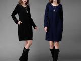 2015欧美外贸女装秋装新款女纯色长袖大码胖MM显瘦中长款连衣裙