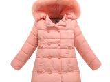 2015秋冬新款大中女童毛领连帽中长款儿童羽绒棉袄衣服装保暖外套