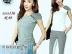 夏季新款女装格子T恤+七分裤两件套短袖运动休闲卫衣套装