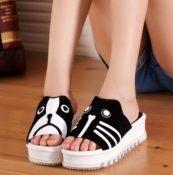 厂家直销2014夏新款猫猫狗狗拖鞋 真皮厚底女凉鞋 松糕跟拖鞋