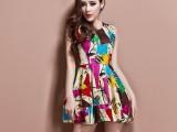 2014春装新款连衣裙大码女装欧美圆领涂鸦雪纺连衣裙灯笼裙打底裙