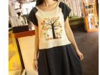 空气猫 经典。森女系贴布彩色印花大树拼接中长款连衣裙  女日系
