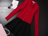 秋冬爆款女装高端定制韩版针织修身连衣裙+长袖针织小外套两件套