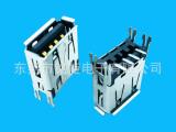 立式贴片USB插座,立式贴片A母,立式贴片USB母座,短体T立式