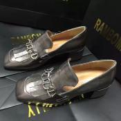 小辣椒同款鞋2015春款新款欧美流苏女单鞋 方头中跟粗跟女鞋真皮