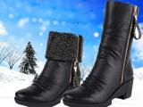 冬季短靴雪地靴真皮中筒靴中跟内增高防水台女靴侧拉链加绒马丁鞋