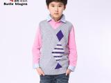 厂家直销春装新款儿童羊毛衫羊绒衫男中大童菱形毛衣背心童装批发