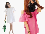 2015韩国新款女装韩版宽松纯棉露肩荷叶袖短袖T恤娃娃款圆领上衣