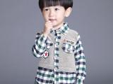 「四色鱼」 品牌外贸儿童拼接格子长袖衬衫 小童宝宝经典格子衬衫