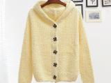 秋装新品女装 韩版连帽加厚针织开衫短款糖果色长袖毛衣外套1025