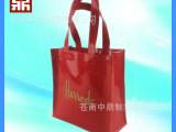 苍南制袋厂订制红色镜面革手提包pvc手提包镜面革pvc手提袋购物