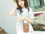 2014韩国新款甜美百搭格子棉麻可爱娃娃裙摆上衣衬衫