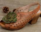 广州外贸风格复古休闲女鞋生产批发妈妈鞋手工鞋