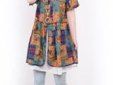 2014夏季新款韩版大码花色系带收腰假两件短袖连衣裙文艺女装