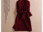 2014冬新款双面绒腰带修身中长款羊绒大衣 双面呢子奢华外套