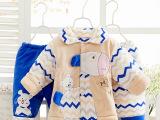 0-1岁儿童加厚纯棉棉衣三件套 宝宝秋冬套装 男女宝宝棉袄外出服