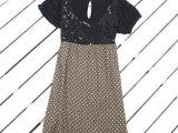 2014夏装新款女装圆领珠片拼接短袖连衣裙 外贸服装批发
