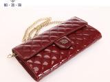 厂家小额混批发新款长款女士时尚钱包欧美大牌 菱格链条包包