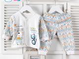 婴安伴婴童套装 精梳棉桃领婴儿内衣套装 秋季新品婴幼儿服饰批发