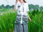 夏装新款防晒衣日系小清新宽松棉麻立领衬衫女式 亚麻衬衣2792