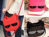 厂家批发韩版新品阿桑娜可爱立体小猫头包漆皮手提包斜跨卡通小包