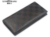 骆宾王 黑色1022C 经典格子全牛皮激光雕刻时尚真皮长款钱包批